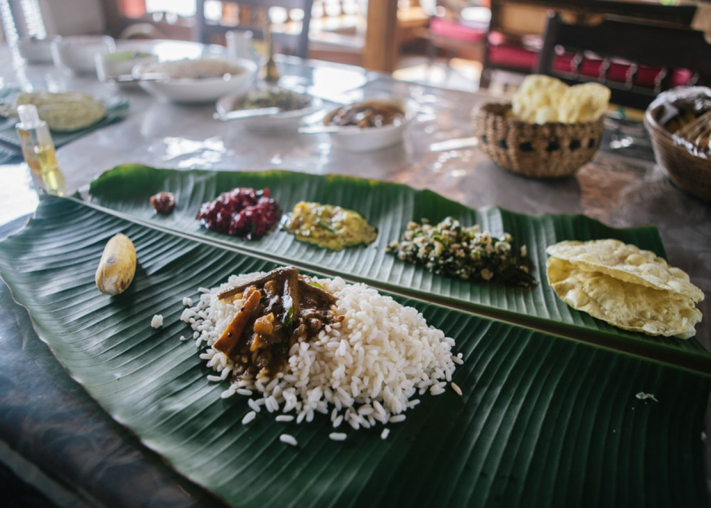 Amazing vegetarian food on our Alleppey houseboat