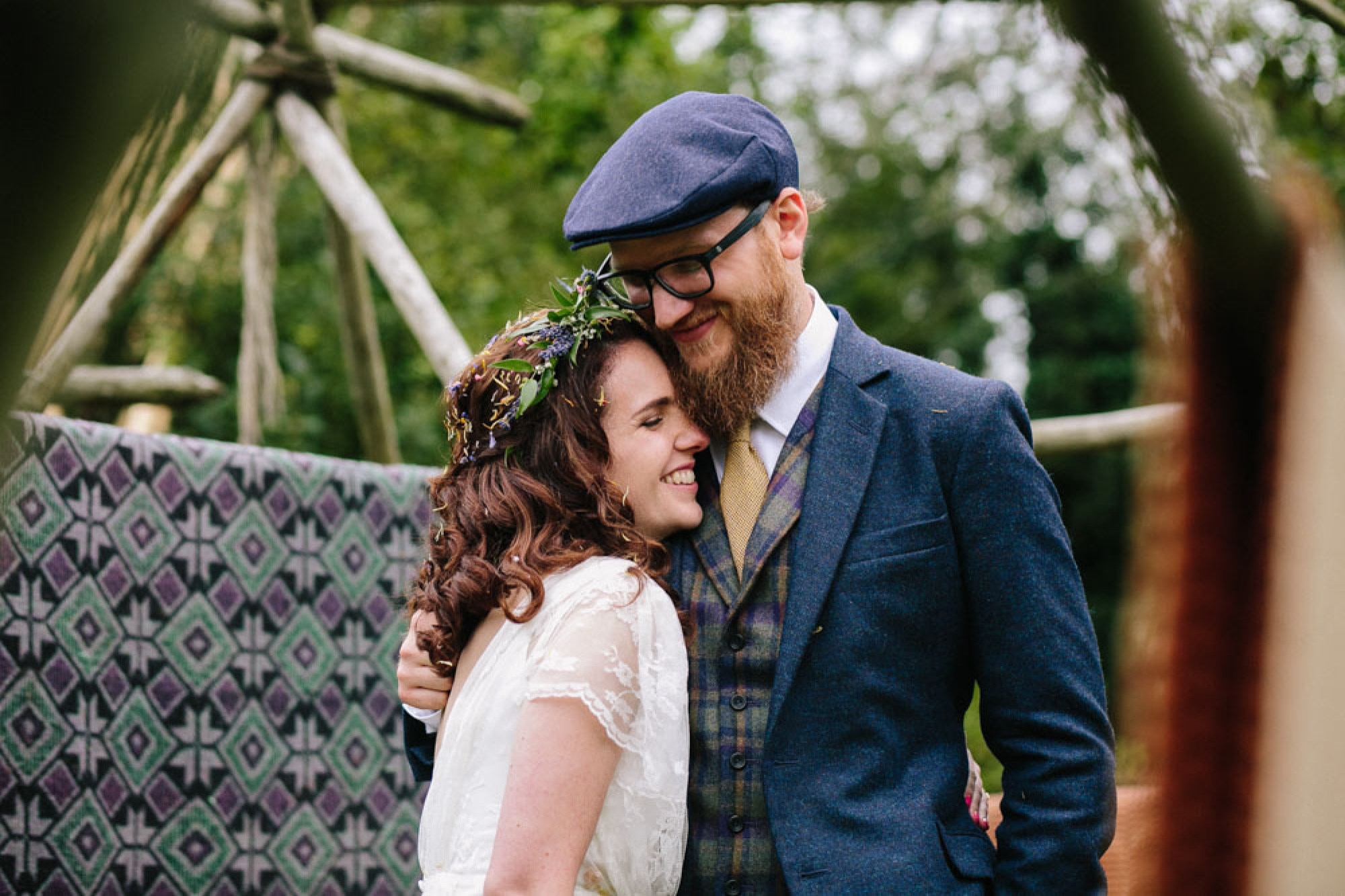 Victoria and Steve's travel-inspired woodland wedding