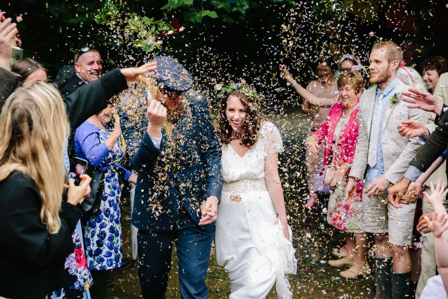 Natural confetti at Cornish Tipi Weddings