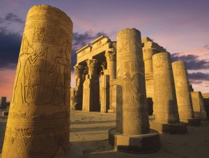 Kom Ombo temple at sunset on the Nile in Egypt