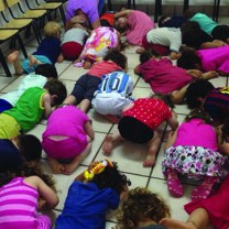 Operation Protective Edge children hiding A kindergarden in central Israel during a rocket alarm