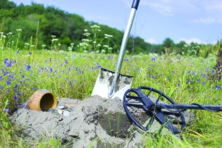Search for treasure using a metal detector and shovel. Image ID:463447478