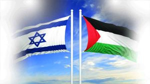 Israeli and Palestinian flags against of blue sky