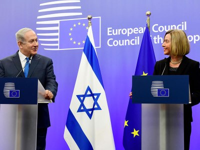 Pm Netanyahu At Eu Headquarters In Brussels As He Is Welcomed By Eu High Representative For Foreign Affairs And Security Policy Federica Mogherini