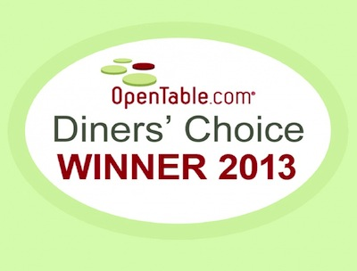 OPEN TABLE DINER'S CHOICE AWARD – 2013