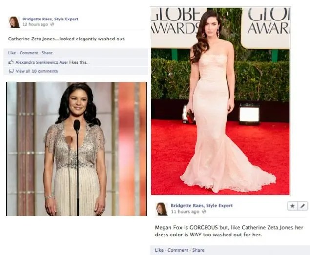 Catherine Zeta Jones and Megan Fox 2013 Golden Globes Fashion