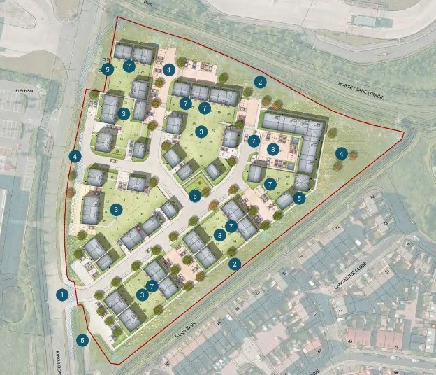 Bridgwater Mercury: Proposed Layout Of 80 Homes On King\'S Road In Bridgwater. CREDIT: Thrive Architects. Free to use for all BBC wire partners.