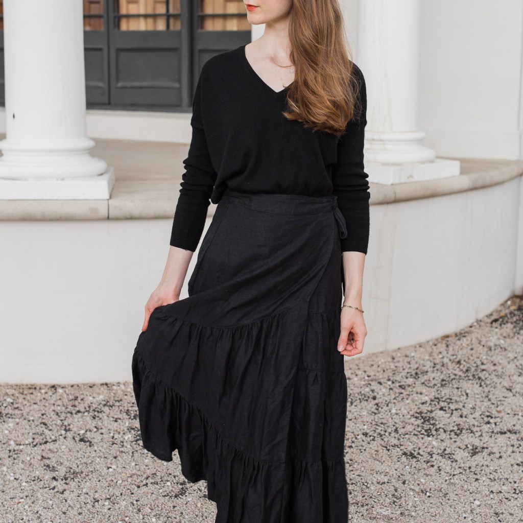 Country Road, Country road black tiered linen midi skirt, linen skirt, tiered skirt, minimalist outfit, autumn and winter outfit