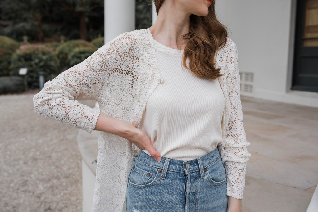 Lois Hazel Top, Jane Birkin Style, Antique Cardigan, Thrifted Outfit, Sustainable fashion outfit ideas, Capsule wardrobe inspiration
