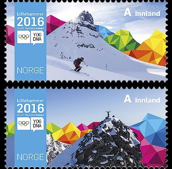Norwegen Briefmarke Wintersport