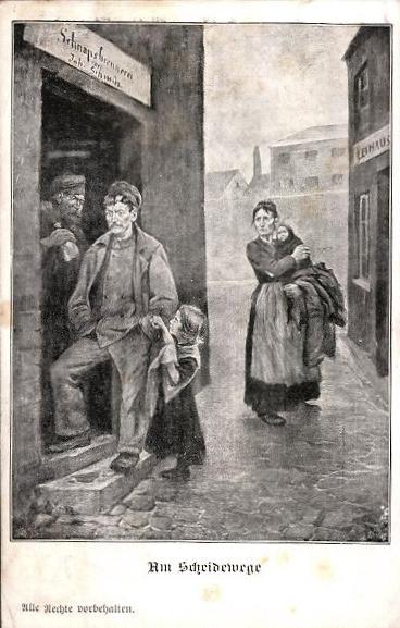 Ansichtskarten Spiegel Alkohol Wirtschaft Missbrauch Arbeiter Schnaps Branntwein 19. Jahrhundert (4)
