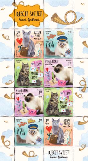 Briefmarken Block der Kroatischen Post mit Katzenmotiven