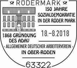 Sonderstempel 150 Jahre SPD in der Röder Mark.
