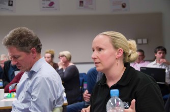 Klaus Schenck and Trish Chilton listen hard