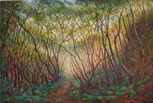Katoomba Falls Track 2 (2nd) oil on canvas 2011 152x102cm