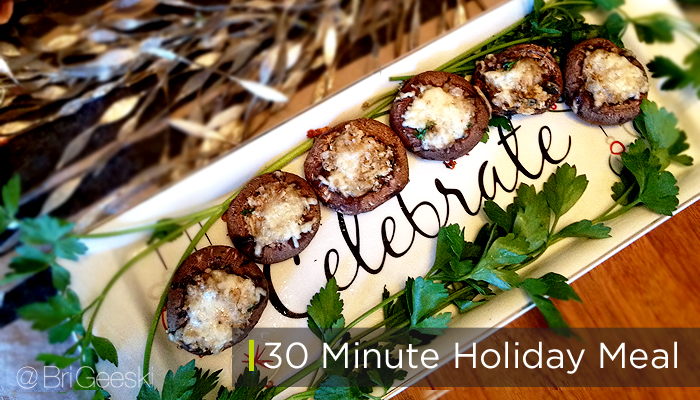 Easy Stuffed Mushrooms with 30 minute holiday meal #shop
