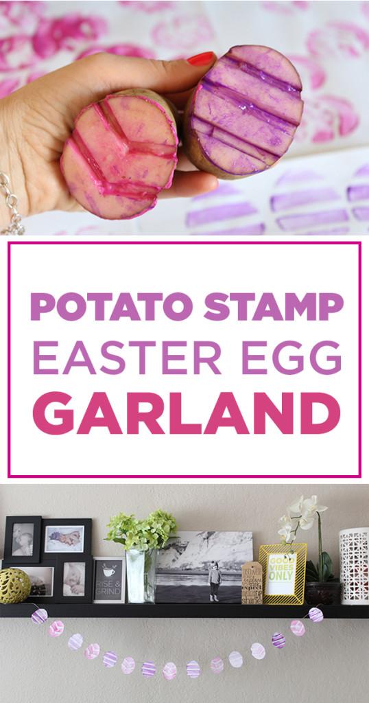 potato stamp easter egg garland