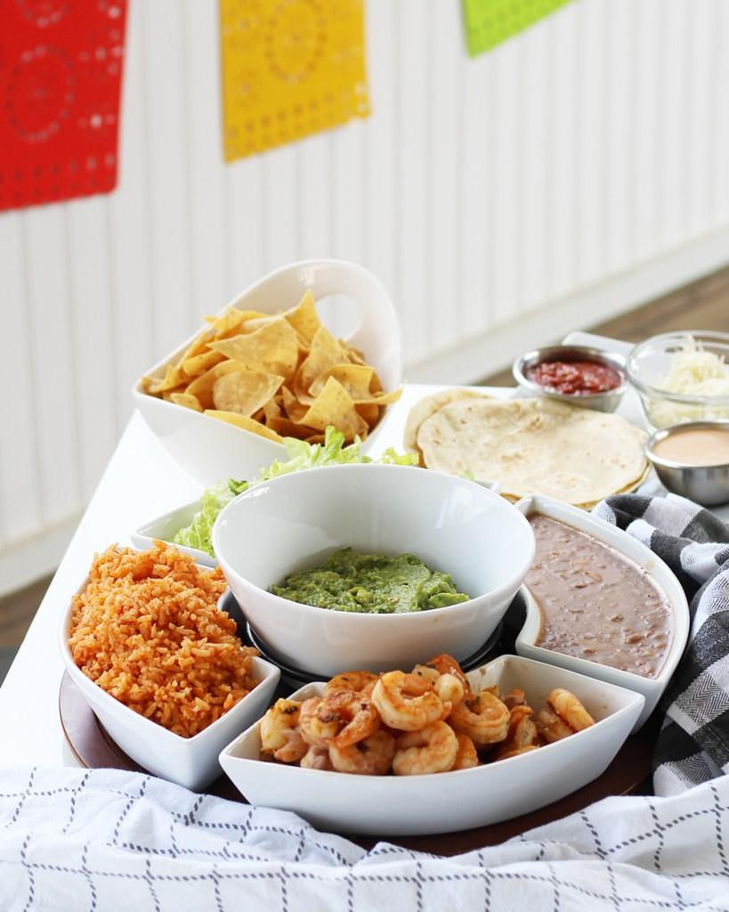 Shrimp and rice tacos