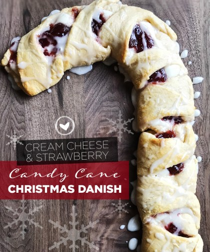 Cream Cheese & Strawberry Candy Cane Christmas Danish