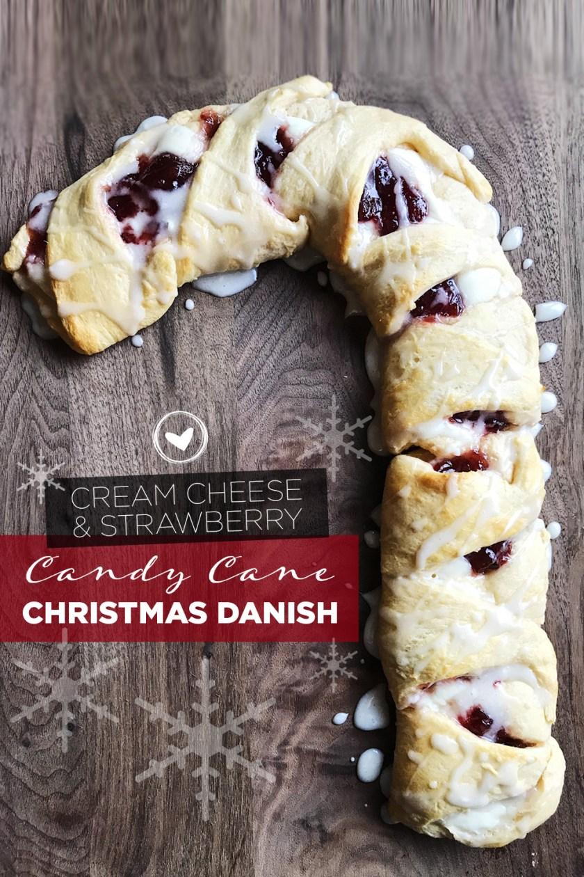 Cream Cheese & Strawberry Candy Cane Christmas Danish
