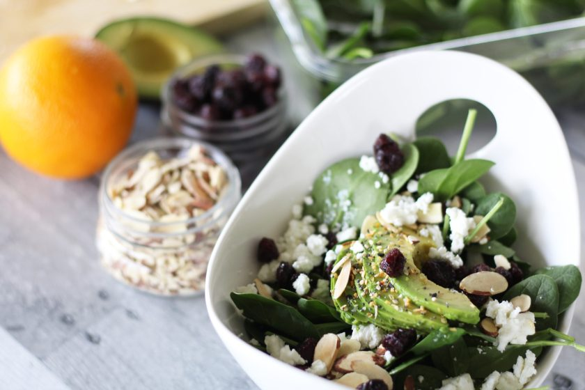 Spinach Salad with Cranberries, Almonds and Goat Cheese