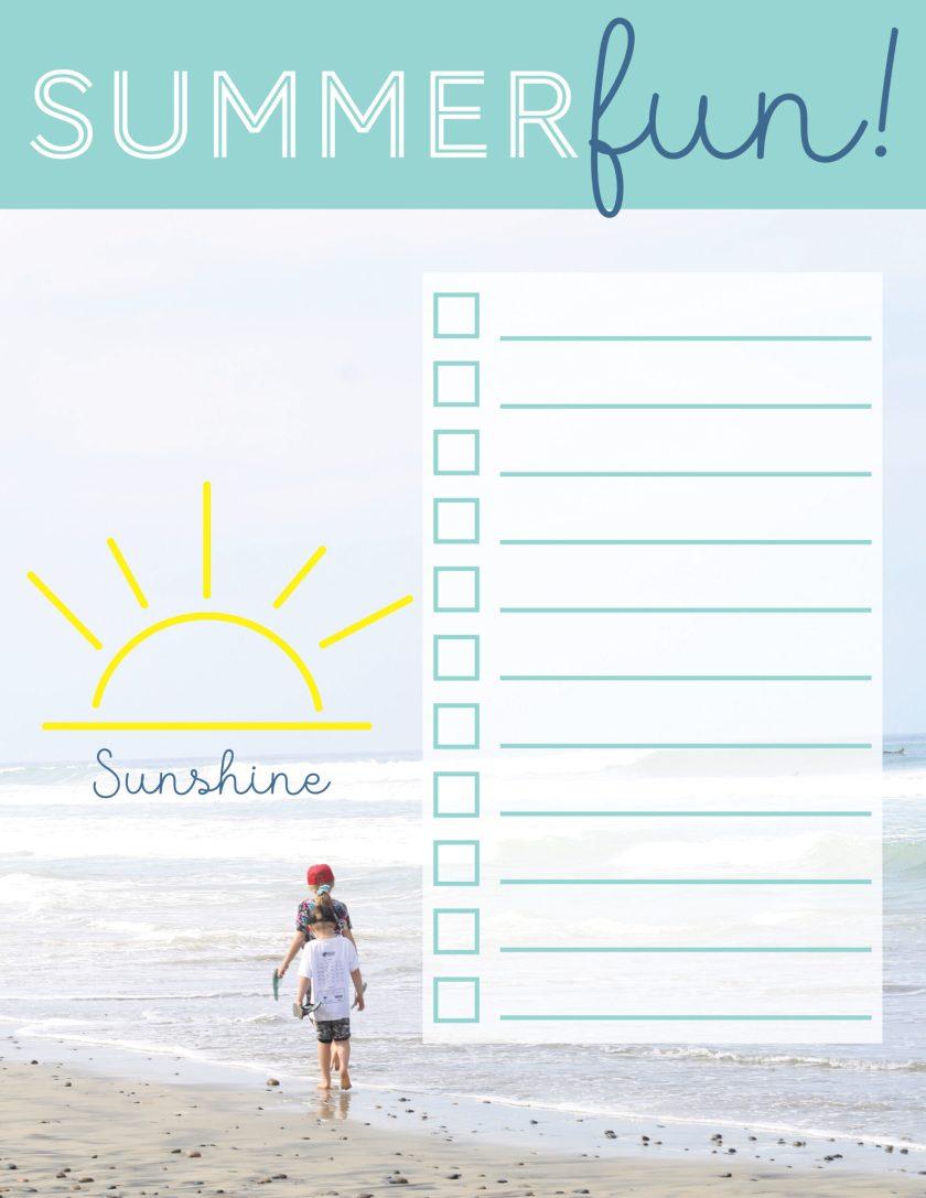 summer fun blank list