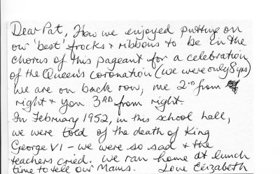 Elizabeth's postcard about the Coronation pageant and the death of the king