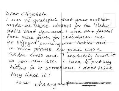 Margaret's postcard to Elizabeth about her Golden Cross pram