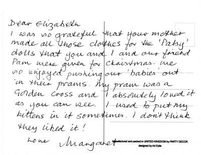 Margaret's postcard to Elizabeth about her Golden Cross pram