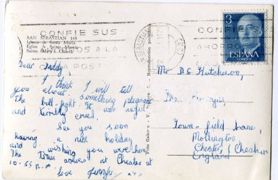 Postcard to Daddy from Spain c1961