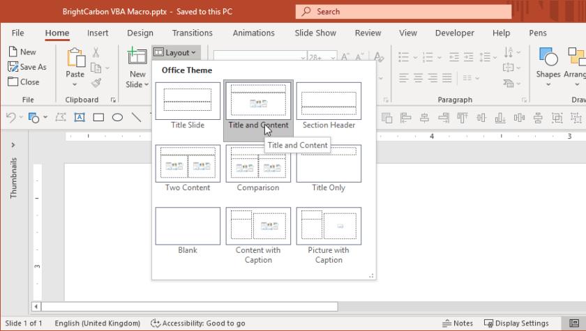 Pilihan Tata Letak Beranda PowerPoint