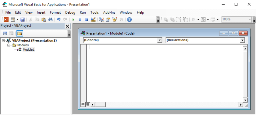 Modul PowerPoint VBE Dimasukkan