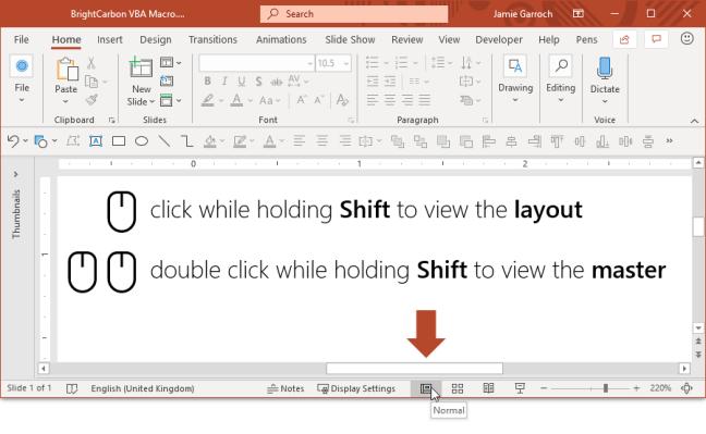 PowerPoint klik dua kali Tampilan Normal untuk Slide Master