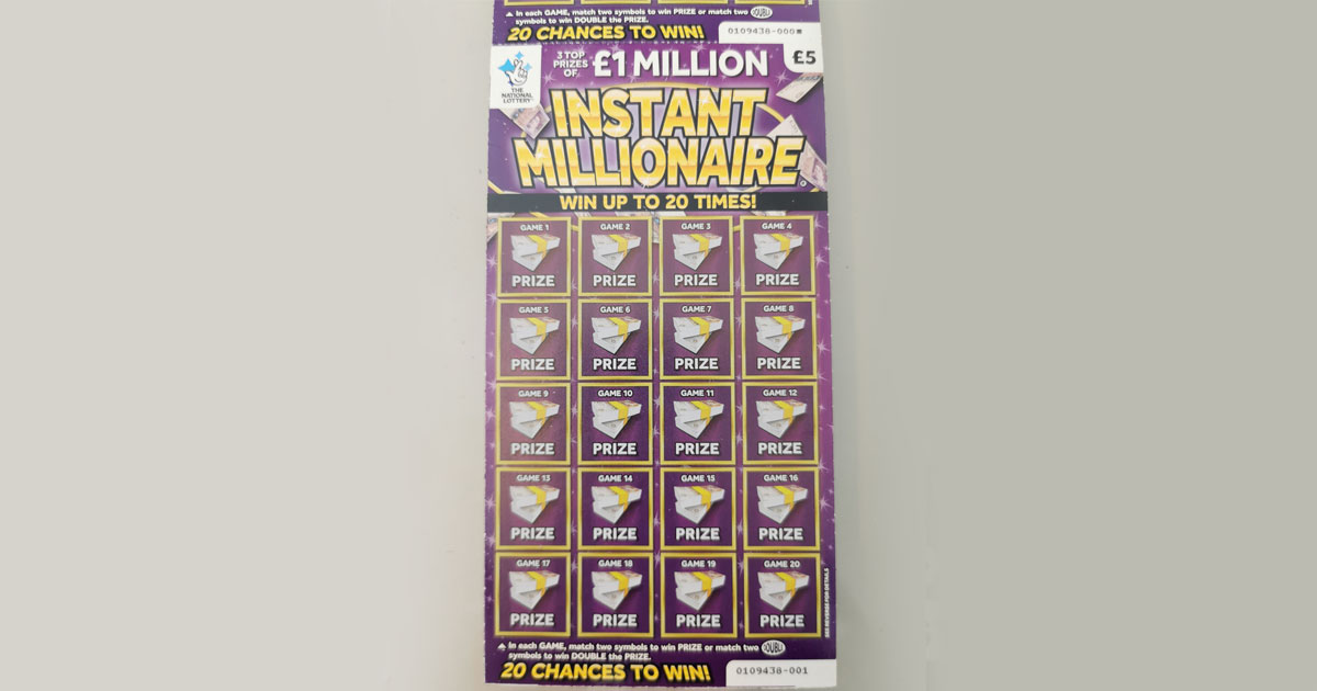 Win a Share of 60 £1 Million Lottery Instant Millionaire Scratchcards