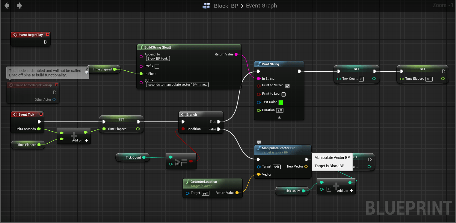 Tips for working with unreal engine 4 c blueprint and virtual bp based do computation 10m times and output the time duration malvernweather Images