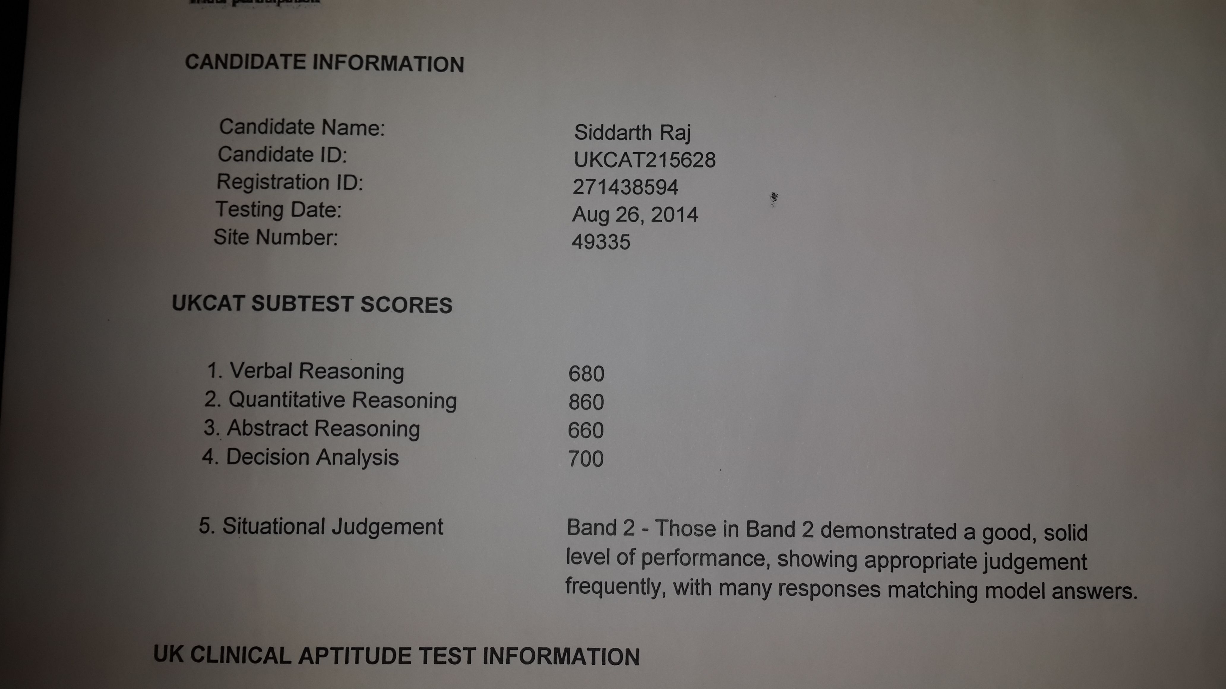 Ukcat Test Score Report Of Brighter Prep S Successful Student