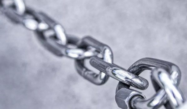 Pictured: A chain link symbolizing the logic model which displays the sequence of actions that describe what the program does and links investments with results.