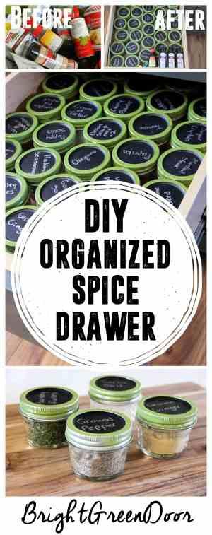 DIY Organized Spice Drawer