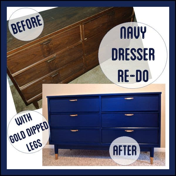 Navy Dresser with Gold Dipped Legs