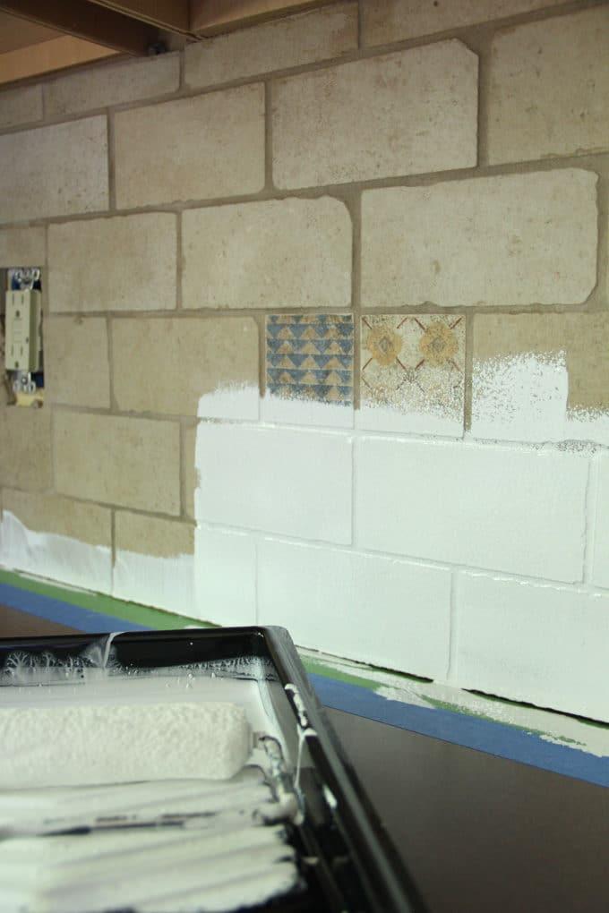 how to paint a tile backsplash bright