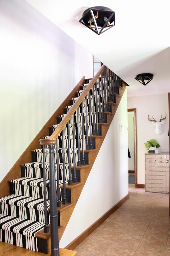 Painted Staircases Black Vs White Bright Green Door | Painted Black Stair Railing | Carpet | High Gloss | Wall Both Side | Step | Colour Combination