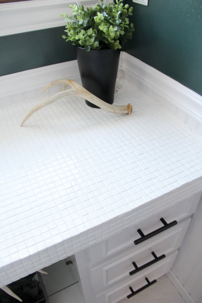 White Tile Painted Countertops