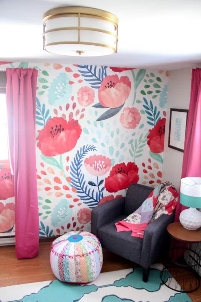 Girls Bedroom with Modern Wallpaper
