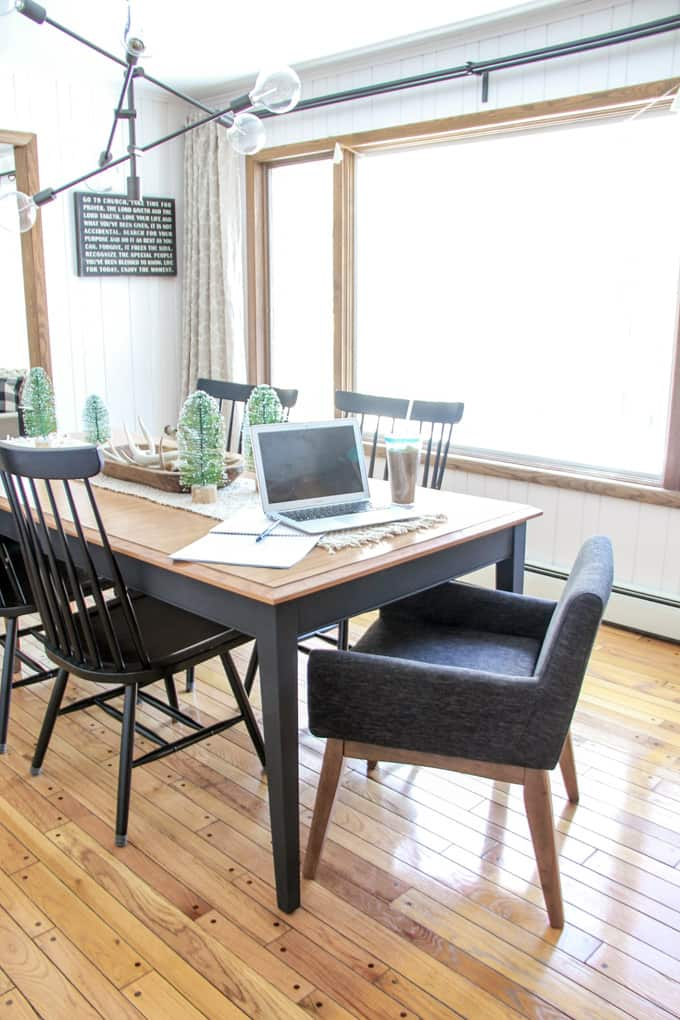 Modern Dining Room with Windsor Chairs and Upholstered Chairs