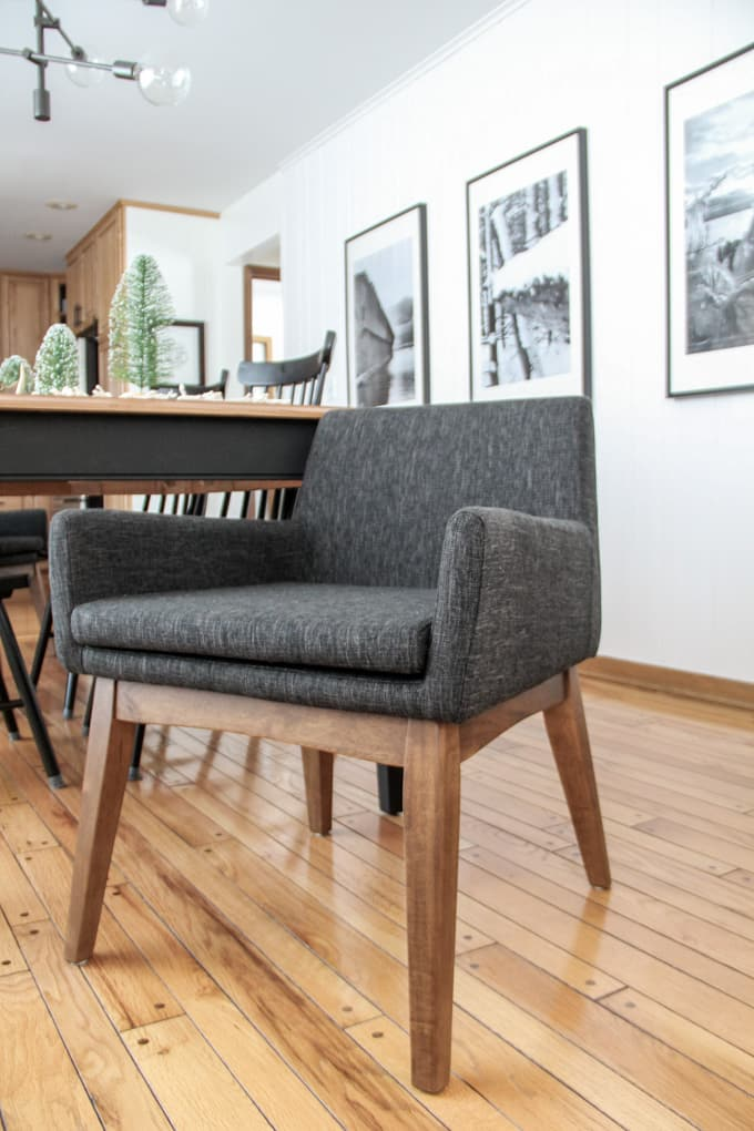 Modern MCM Grey Upholstered Dining Chair