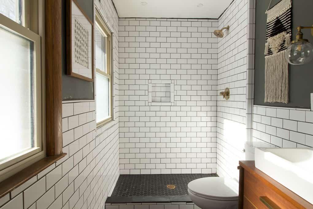 our modern subway tile bathroom