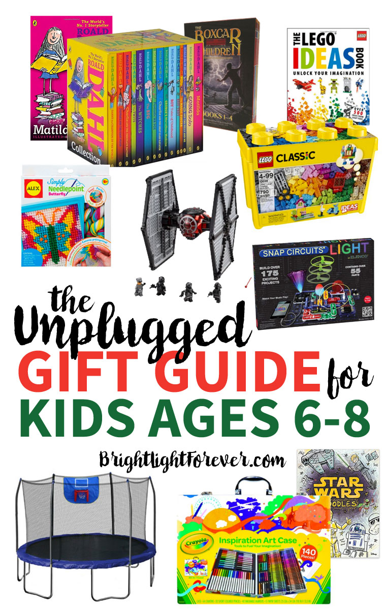 TONS of UNPLUGGED gift ideas for 6-8-year-olds! Love this list!