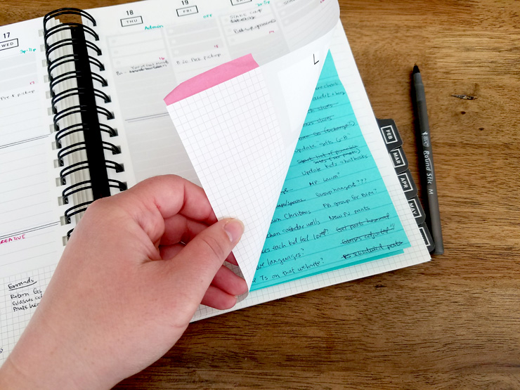 Tips to organize your brain, like: keep your on-going task list on next week's planner page so you can easily review it when you plan your week. #planner #plannertips #organize #productivity