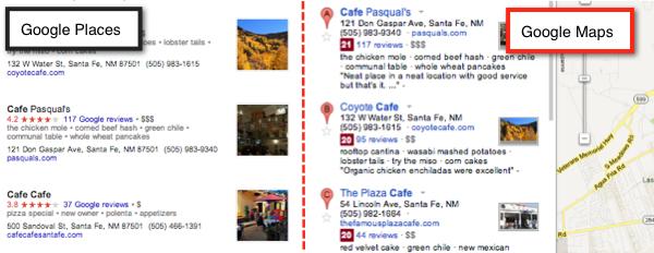 Google Places & Google Maps aligning