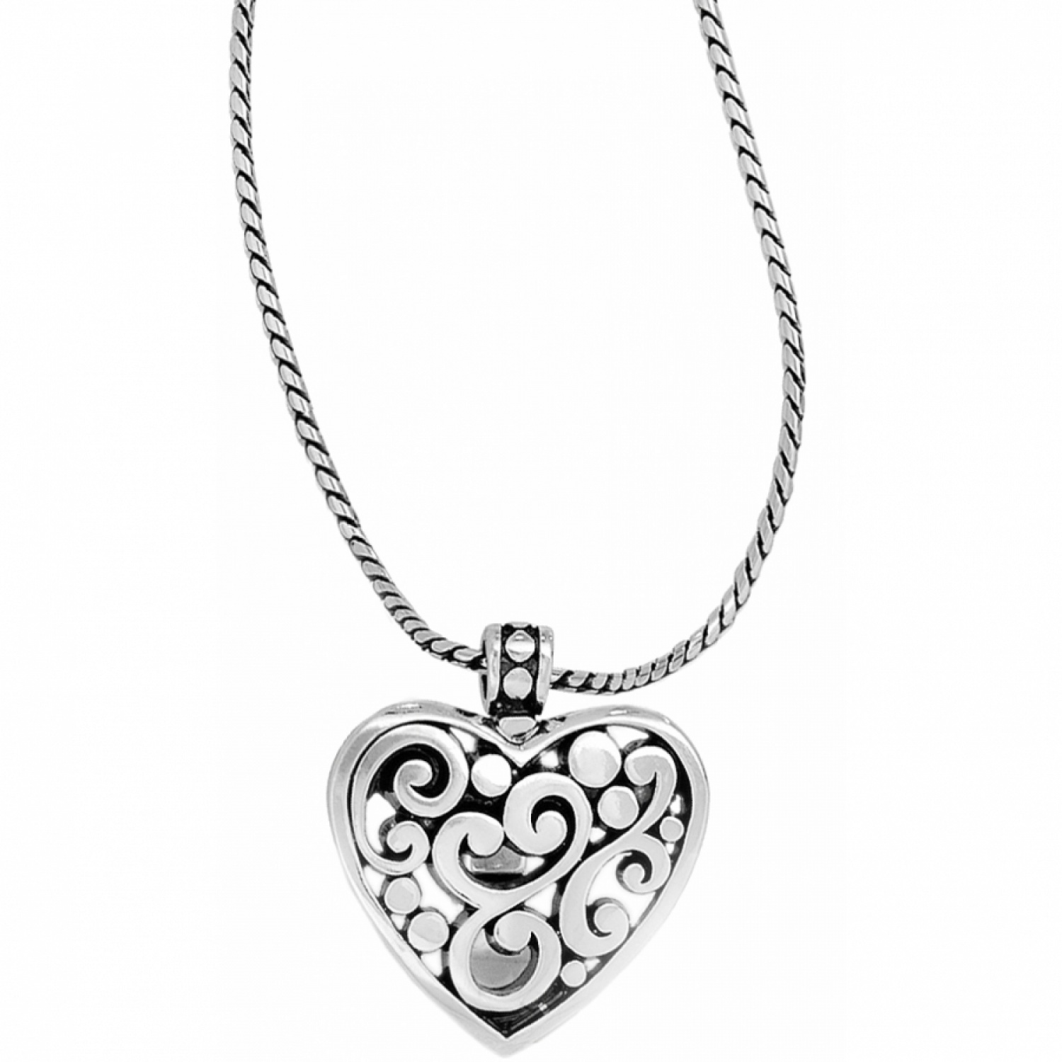 Contempo Contempo Heart Badge Clip Necklace Necklaces